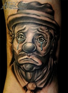 crying-clown-head-tattoo